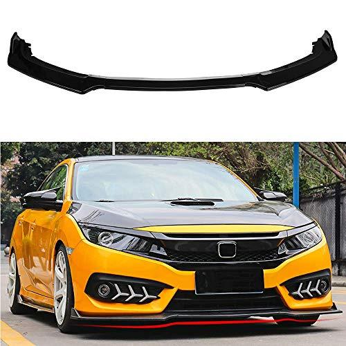 MotorFansClub 3pcs Front Bumper Lip Splitter fit for compatible with Honda Civic 2016 2017 2018 Trim Protection Splitter Spoiler, Black