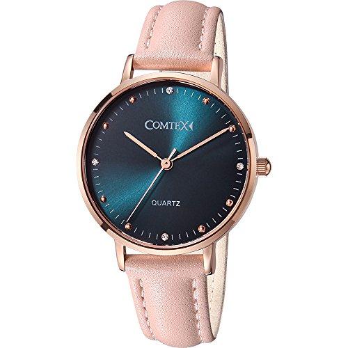 Comtex Damen Uhr Analog Quarz mit Leder Armband Wasserdicht F6641L-PINK