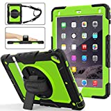 SEYMAC stock Case for iPad 6th/5th Generation, [Full-Body] Protection with 360 Degrees Rotating Stand [Pencil Holder] Hand Strap for iPad 5th/6th/ Air 2/ Pro 9.7(Green+Black)