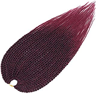 Mirra's Mirror (6Packs)18Inch Ombre Senegalese Box Braids Crochet Hair Braiding Hair Synthetic Mambo Twist Hair Extension 30Strands/Pack (18inch (6packs), T1B/Burgundy)