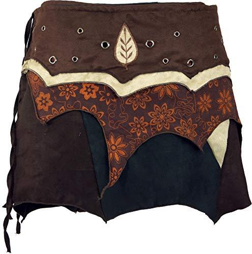 GURU-SHOP, Gonna Elf Wrap Skirt, Goa Mini Skirt, Cacheur, Cotone, Gonne Corte, Caff, S / M (38)