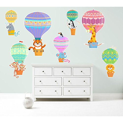 Ballons à air chaud Zoo animaux Kit sticker mural Decal Art Nursery mignon Chambre de Fille de Garçon, Vinyle, Medium pack (total sheet) 70cm x 55cm