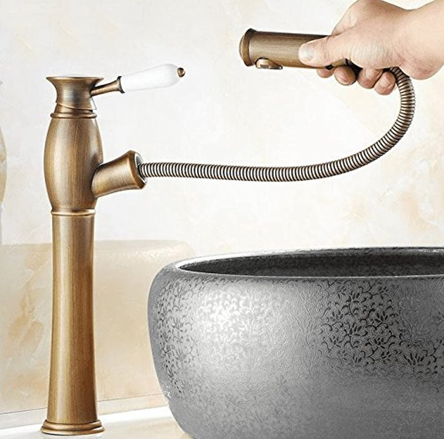 AWXJX Sink Taps copper European retro style bathroom Basin Pull out Hot and cold
