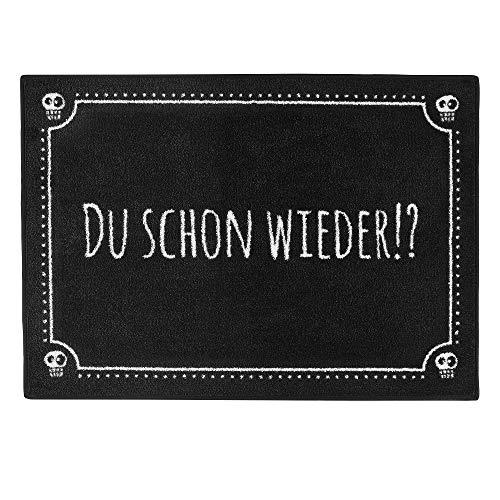 """Pechkeks Fußmatte mit Spruch """"Du Schon Wieder. """" (Größe 70x50cm rutschfest, waschbar, schwarz)"""