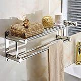 Tourwin capa doble de acero inoxidable toallero montado en la pared baño estante de almacenamiento Rack ropa soporte