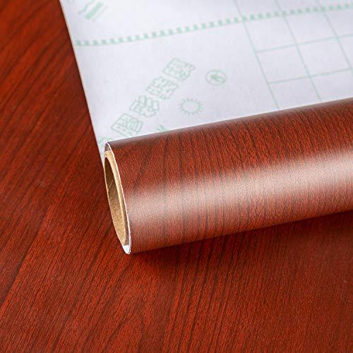 """Papel de contacto de grano de madera, color rojo y marrón 15.75"""" x 118.11"""" vinilo adhesivo decorativo para muebles, película de vinilo, madera, parte trasera adhesiva, plástico y textura de cerezo"""