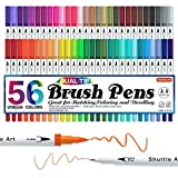 Dual Brush Pens Art Markers, Shuttle Art 56 Colors Dual Tip Calligraphy Pens Fineliner and Brush Tip perfect for Kids Adult Artist, Hand Lettering, Journal, Doodling, Writing, Coloring Books.