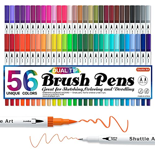 Dual Tip Brush Pens, Shuttle Art 56 Colours Brush Tip Drawing Markers with...