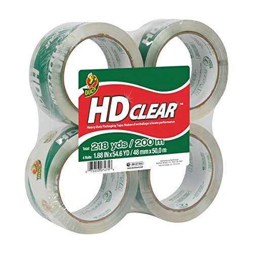 Duck HD Clear Heavy Duty Packing Tape Refill, 4 Rolls, 1.88 Inch x 54.6 Yard, (240378)
