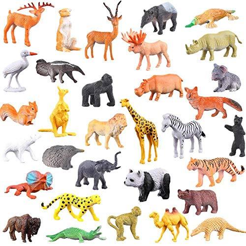 ParZ Animal de Dibujos Animados, Paquete de 52 Mini plástico Animales Salvajes Modelos Juguetes Kit Juguetes Selva Figuras de Animales para niños Niños y niñas Niños Fiestas Favoritas Aulas