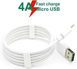 Benshyky 1m 4A Fast Charge Micro USB Charging Cable Data Sync Cord for OPPO VOOC Android - White 1M