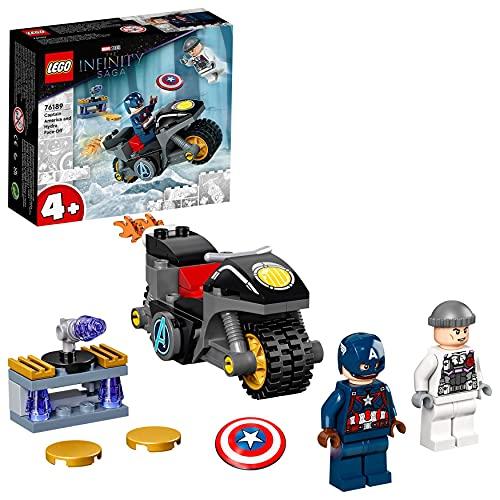 LEGO Super Heroes Marvel Scontro tra Captain America e Hydra, Giocattolo Supereroi per Bambini di 4 Anni con Moto Costruibile, 76189