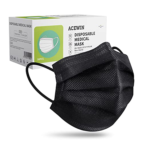 Acewin 50 × Medizinische Masken, Type IIR Schwarze Einwegmasken CE Zertifiziert 3 lagig - BFE ≥ 98%