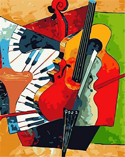 N\A Kits De Pintura por Números para Adultos - Kits De Regalo De Pintura Al Óleo DIY para Adultos Principiantes - Abstracto Violonchelo Instrumento Musical