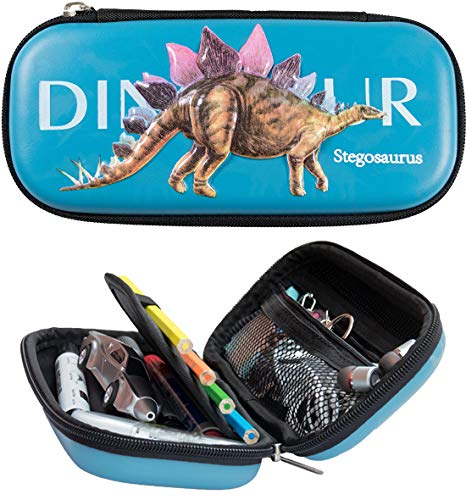 T-rex Triceratops Pencil Case for Boys 3D Noctilucent Cool Tyrannosaurus Dinosaurs EVA Pen Pouch Stationery Box Anti-shock for School Students Boy Teens
