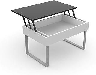 LEVIRA – Mesa de Centro elevable Don - 80 x 51 x 45,5 (Cerrada) e 59,5 (Abierta) - Negro