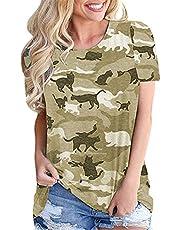Camiseta Suelta De Manga Corta con Estampado De Camuflaje Y Cuello Redondo De Primavera Y Verano para Mujer