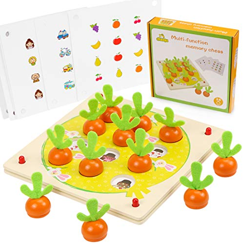 O-Kinee Juguetes Montessori, Juguetes Educativos, Memoria de Zanahoria, Rompecabezas Juegos de Madera, Zanahorias Clasificación, Juguetes Madera Granja Infantiles, Regalo de cumpleaños, Navidad