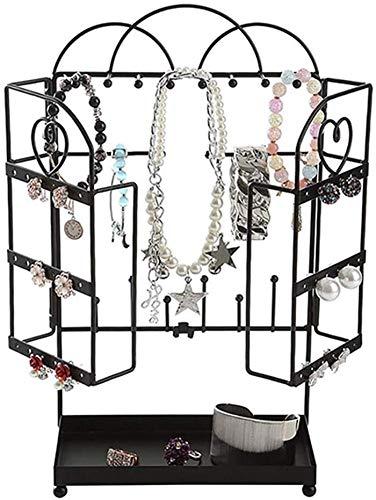 HBZH - Expositor de joyas multifuncional de metal negro para escritorio, pendientes, collares, anillos, pulseras, etc.