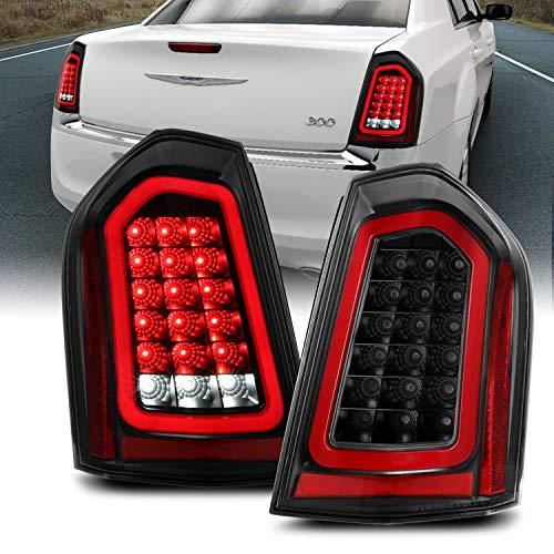 AmeriLite Black Full Intense LED Tail Lights Brake and Resverse Parking Light Bar for 2011-2014 Chrysler 300