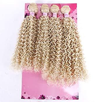 FRELYN Kinky Curly Bundles Synthetic Hair Weave Blonde Color 613# 18 18 20 20 Inch 4 Bundles Heat Resistant Fiber Soft and Natural as Human Hair