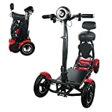 Foldable Lightweight Li-on Battery Power Mobility Scooters Easy Travel Electric Wheelchair Multi Terrain Scooter for Adults with Child Seat (Cherry Red)
