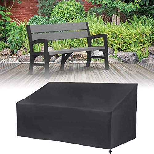 GTWIN Garden Bench Covers 2 Seater, Waterproof, Windproof, Anti-UV, Tear Resistant 210D Oxford Fabric Outdoor Patio Bench Seat Cover - Black (2 Seater(134x66x89cm))