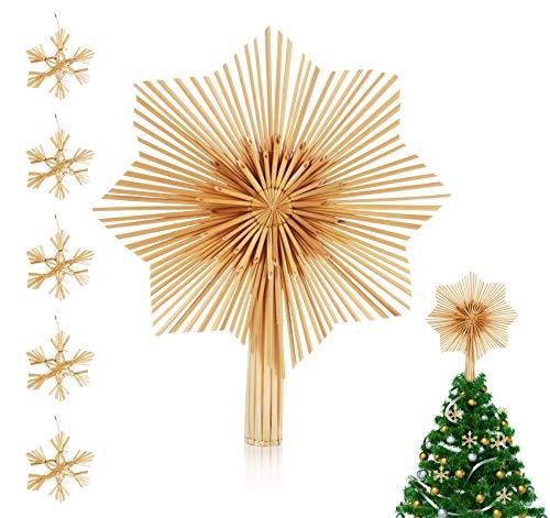 Anstore Weihnachtsbaum Spitze Christbaumspitze aus Stroh, 30 * 25 cm, Natürlicher Handgemachter Strohstern Baumspitze Stern Christbaumschmuck mit 5 Strohsterne Ø 6 cm