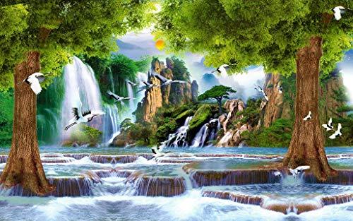 Jigsaw Puzzle 1000 Teile Baum Wasserfall Fließende Narzissenkranich Holzpuzzles Kartenspiel Puzzle Klassische Puzzle Gute Sammlungen Puzzle Für Erwachsene,Jugendliche,Kids