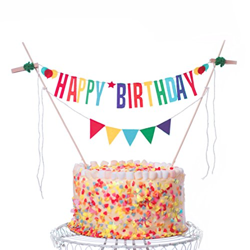Happy Birthday Cake Topper Banner, Colorful Decorating Bunting for Birthday Decorations - Multicolor É