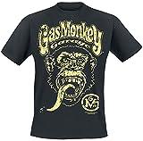 Gas Monkey Garage Logo Hombre Camiseta Negro XL, 100% algodón, Regular