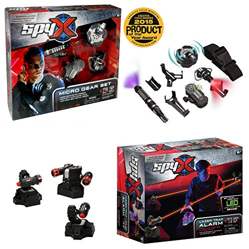 SpyX / Micro Gear Set + Lazer Trap Alarm - 4 Must-Have Spy Tools Attached to an Adjustable Belt + Invisible LED Beam Barrier & Alarm! Jr Spy Fan Favorite & Perfect for Your Spy Gear Collection!
