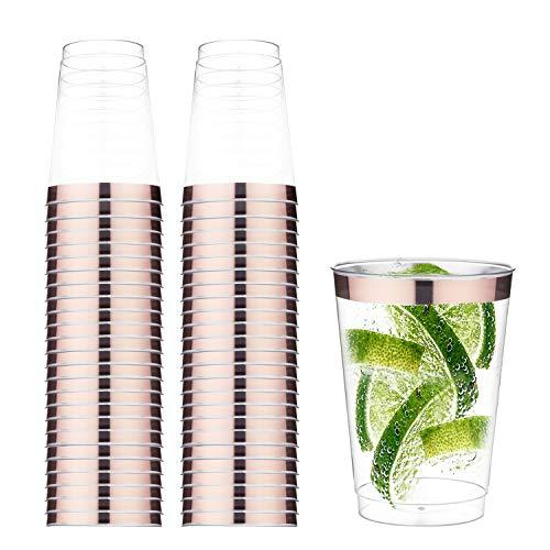 TOROTON 50 Copas de Plástico Reutilizables, 350ml Copas de Vino Duro Transparente, para Catering Fiestas Cumpleaños Bodas - Oro Rosa