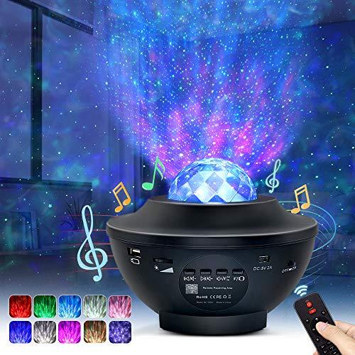 OTTOLIVES LED-Sternenhimmel Projektor Baby Nachtlichter Projektor Lampe Sternenhimmel Lampe , mit Fernbedienung und Timer, Bluetooth Lautsprecher, für Geburtstagsfeier Hochzeit Schlafzimmer Wohnzimmer