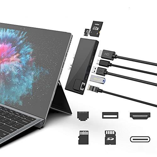 Docking station hub per Surface Pro 7 con adattatore HDMI 4K + LAN Ethernet 1000M + porta USB C per trasferimento dati e audio + convertitore per lettore di schede SD