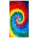 Beachland Tie Dye Beach Towel 30 x 60 inches 100% Cotton Rainbow Hippie Colors - One Side Printed (Rainbow Tie Dye, One Towel)
