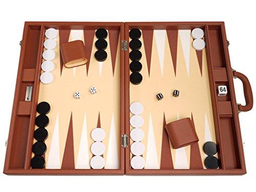 "Silverman & Co. 19"" Premium Desert Brown Leather Backgammon Board"