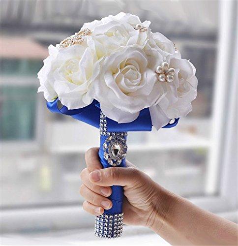 Quibine Bouquet de Fleurs Artificielles Mariage Cristal Strass Perle Décor
