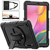 Samsung Galaxy Tab A 10.1 Case 2019 with Screen Protector, SM-T510/T515 SIBEITU Heavy Duty Shockproof Full Body Rugged Protection Cover with Stand+Hand Strap+Shoulder Strap for Kids 2019, Black