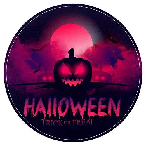 HEOEH Halloween Bloody Moon Pumpkin, Non Slip Doormat 15.7″ Round Area Rug Carpets Rugs for Kids Bedroom Baby Room Play Room Nursery