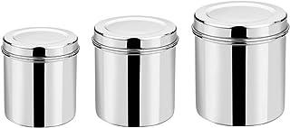 Vinod Stainless Steel Deep Dabba - 350 ml, 500 ml, & 750 ml - Set of 3 Pieces, Silver, Small (VINODDEEPDABBA3PCSET)