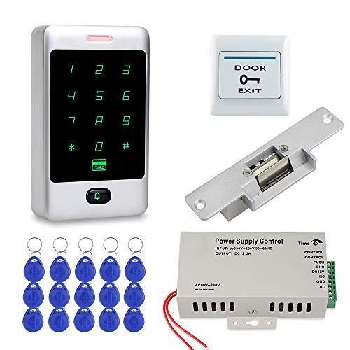 FST Sistemas de Seguridad para el Hogar Teclado RFID + Cerradura Eléctrica NC + fuente de Alimentación Control Acceso + Tarjetas de llave de 15 piezas