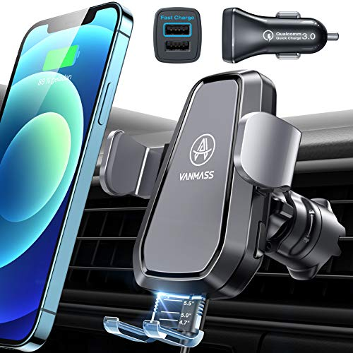 VANMASS Automatische Handyhalterung Auto mit Ladefunktion 10W Fast Charging Wireless Charger Auto Kit mit Auto Ladegerät Lüftungshaken Qi Ladestation Auto für iPhone 12/11/XS/XR Samsung S20/S10 usw.