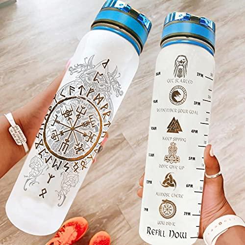 Hothotvery Botella deportiva con estampado vikingo, vegvisir, runas escandinavas, marcas de fathurk, sin BPA, 1 L, sin condensación, para yoga, color blanco, 1000 ml
