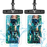 Universal Waterproof Case, 2-Pack Tekcoo IPX8 Phone Clear Pouch Dry Bag Compatible with iPhone 13 12 11 Pro Max/Xs/XR/X & Galaxy Note 20/S21 Ultra/S20+/A12/A11/A32/A52/A72/A21/A42/A02S & Up to 6.9'