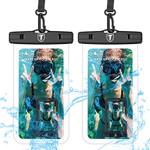 """Universal Waterproof Case, 2-Pack Tekcoo IPX8 Waterproof Phone Clear Pouch Dry Bag Compatible iPhone 11 Pro Max/Xs Max/XR/X/SE 2020, Galaxy 20 Ultra/S20+/A20/A50/A21/A51/A01/Note10 & Phones Up to 6.5"""""""