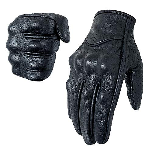 Full finger Goat Skin Leather Touch Screen Motorcycle Gloves Men/Women S,M,L,XL,XXL (Perforated, L)