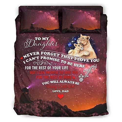 WOSITON Ropa de cama Lion To My Daughter Starry Sábanas Kits de Ropa de cama de matrimonio de color oscuro blanco 228x228cm