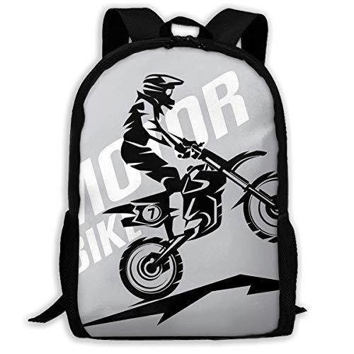Schulrucksack Motocross-stilisiertes Symbol Rucksack wasserdichte Schultaschen Durable Travel Camping Rucksäcke für Jungen und Mädchen