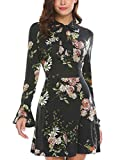 ACEVOG Women's Casual Floral Print Bell Sleeve Fit and Flare Dress(Medium, Black)